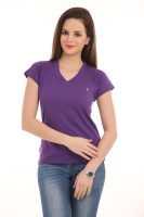 LovinoForm Solid Women's V-neck Purple T-Shirt