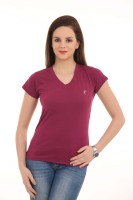 LovinoForm Solid Women's V-neck Maroon T-Shirt