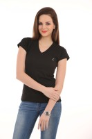 LovinoForm Solid Women's V-neck Black T-Shirt