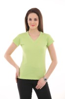 LovinoForm Solid Women's V-neck Light Green T-Shirt