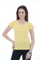 LovinoForm Solid Women's V-neck Yellow T-Shirt