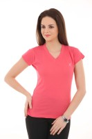 LovinoForm Solid Women's V-neck Pink T-Shirt