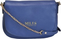 Miles London Women Blue Genuine Leather Sling Bag