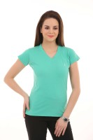 LovinoForm Solid Women's V-neck Green T-Shirt