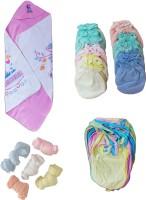 dolphin52 Combo set 0f 4. 1.Baby blanket, 2. 12pcs baby gloves, 3. 12 pcs baby langot, 4. 5pcs baby socks. AGE:1-5 months(Multicolor)