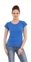 LovinoForm Solid Women's Round Neck Blue T-Shirt