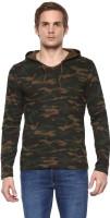 Urbano Fashion Military Camouflage Men's Hooded Green T-Shirt