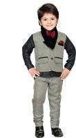 AJ Dezines Boys Shirt, Waistcoat and Pant Set(Brown Pack of 1)