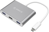Orico Aluminum HUB with Type-C to HDMI Converter (RCH3A) USB Adapter(Silver)