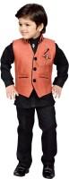 AJ Dezines Boys Festive & Party Shirt, Waistcoat and Pant Set(Maroon Pack of 1)