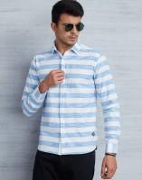 Metronaut Men Striped Casual Blue, White Shirt