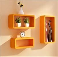View Ganeshaas Set of 3 All Rectangular Orange Floating Racks MDF Wall Shelf(Number of Shelves - 3, Orange) Furniture (Ganeshaas)