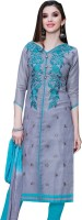 Oomph! Cotton Blend Embroidered Salwar Suit Material(Unstitched)