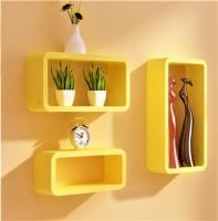 View Ganeshaas Set of 3 All Rectangular Yellow Floating Racks MDF Wall Shelf(Number of Shelves - 3, Yellow) Furniture (Ganeshaas)