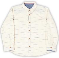 Allen Solly Junior Boys Printed Casual Beige Shirt