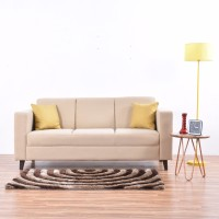 View Furny Eleana Sofa Fabric 3 Seater(Finish Color - Cream) Furniture (Furny)