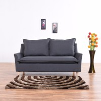 View Furny Bliss Sofa Fabric 3 Seater(Finish Color - Dark Grey) Furniture (Furny)