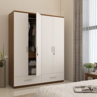 View Spacewood Classy Engineered Wood 4 Door Wardrobe(Finish Color - White) Furniture (Spacewood)