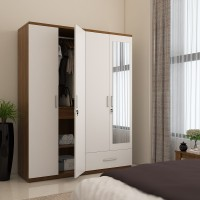 View Spacewood Classy Engineered Wood 4 Door Wardrobe(Finish Color - White, Mirror Included) Furniture (Spacewood)