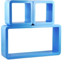 View Ganeshaas Set of 3 Blue Rectangular Cubical Rack Shelves MDF Wall Shelf(Number of Shelves - 3, Blue) Furniture (Ganeshaas)