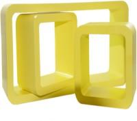 View Ganeshaas Set of 3 Yellow Rectangular Cubical Floating Racks MDF Wall Shelf(Number of Shelves - 3, Yellow) Furniture (Ganeshaas)