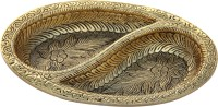 Handicrafts Paradise Platter in Oval shape with partition Antique golden finish in metal by Handicrafts Paradise Aluminium Decorative Platter(Gold)