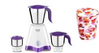 Preethi CROWN M G 205 with Cover 500 W Juicer Mixer Grinder (3 Jars, Violet)
