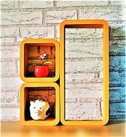 View Ganeshaas Set of 3 Orange Rectangular Cubical Floating Racks MDF Wall Shelf(Number of Shelves - 3, Orange) Furniture (Ganeshaas)