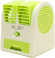 View Tuelip Easy Chargeble Dual Bladeless Mini Fresh Air Cooler With Fragrance USB Fan(Green, White) Laptop Accessories Price Online(Tuelip)