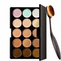 Adbeni Imported 15 Colors Contour Face Creme Makeup Concealer Palette + Make up Brush Pack of 2-C357(Set of 2) - Price 349 77 % Off
