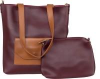 peaubella Shoulder Bag(Maroon, Tan)