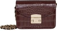 peaubella Women Brown Leatherette Sling Bag