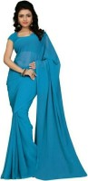 Stylish Sarees Solid Bollywood Synthetic Georgette Saree(Light Blue)