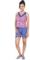 9teen Again Women's Printed Blue, Pink Top & Shorts Set