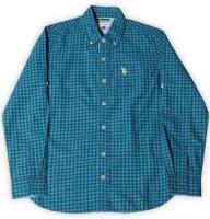 US Polo Kids Boys Checkered Casual Blue Shirt
