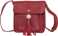 peaubella Women Maroon Leatherette Sling Bag