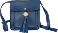 peaubella Women Blue Leatherette Sling Bag