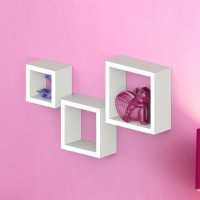 View Onlineshoppee Square Nesting MDF Wall Shelf(Number of Shelves - 3, White) Furniture (Onlineshoppee)