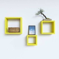 View Onlineshoppee Square Nesting MDF Wall Shelf(Number of Shelves - 3, Yellow) Furniture (Onlineshoppee)