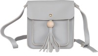 peaubella Women Grey Leatherette Sling Bag