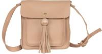 peaubella Women Beige Leatherette Sling Bag