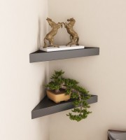 View Decorasia Black Corner Set of 2 MDF Wall Shelf(Number of Shelves - 2, Black) Furniture