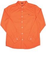 Allen Solly Junior Boys Solid Casual Orange Shirt