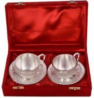 Shreeng Shreeng Silver Plated 2 Cup Plate Set Brass Decorative Platter(Silver, Pack of 4)