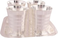 Shreeng Shreeng Silver Plated Premium Patta Glass Set With Rectangle Tray 5 Pcs. Glass Tray Serving Set(Pack of 5)
