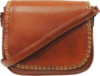 MEX Women Tan Genuine Leather Sling Bag