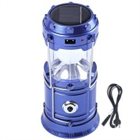 View BalRama 6+1 LED Light Rechargeable Solar Light Collapsible Solar Camping Lantern LED Torch Flashlight with Dual Power Recharger Solar & AC Electricity 220v + Portatable Hand Lamp with Hooks + Charging Cable with Indicator + USB Output for Mobile Charging Jia Hao JH-5800T Solar Lights(Blue) Home Appliances Price Online(BalRama)