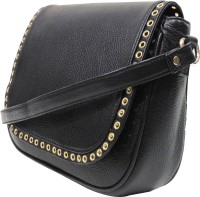 MEX Women Black Genuine Leather Sling Bag