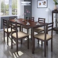 Flipkart Perfect Homes Capri Engineered Wood 6 Seater Dining Set(Finish Color - Walnut)