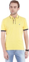 John Players Solid Men's Polo Neck Yellow T-Shirt